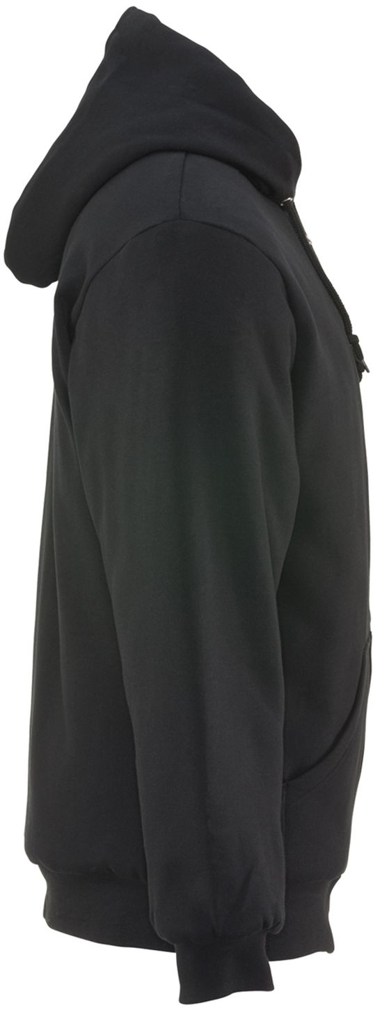 RefrigiWear 0488 Quilted Insulated Zipper Work Sweatshirt With Hood 3 Layer Black Right