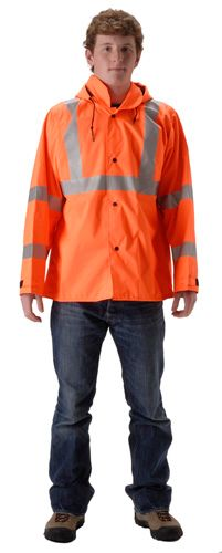 nasco envisage hi vis orange premium breathable rain jacket