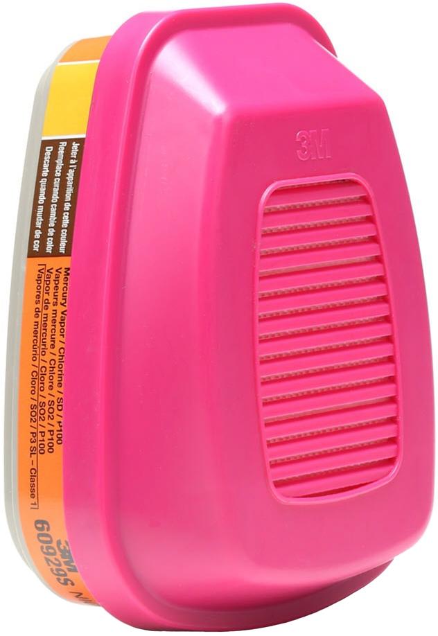 3M 60929 Mercury Vapor - Chlorine Gas Cartridges with P100 Filter Front