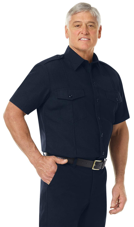Workrite FR Shirt FSC6, Fire Chief, Classic Short Sleeve Midnight Navy Example