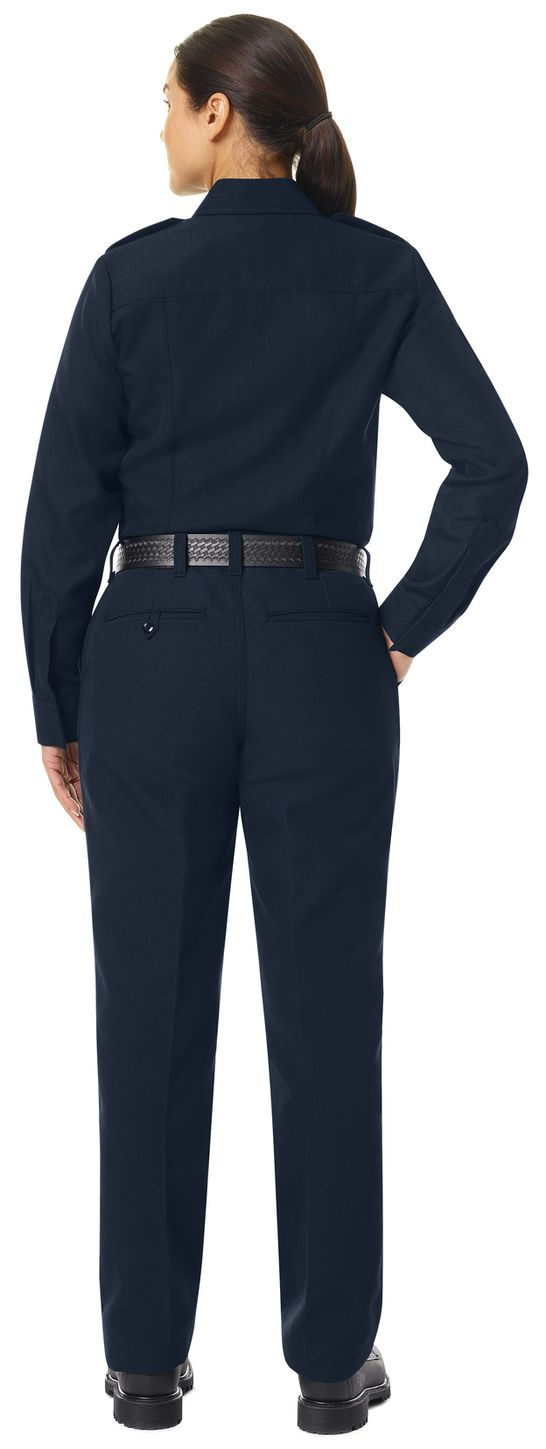 Workrite FR Women's Fire Chief Shirt FSC5, Classic Long Sleeve Midnight Navy Example Back