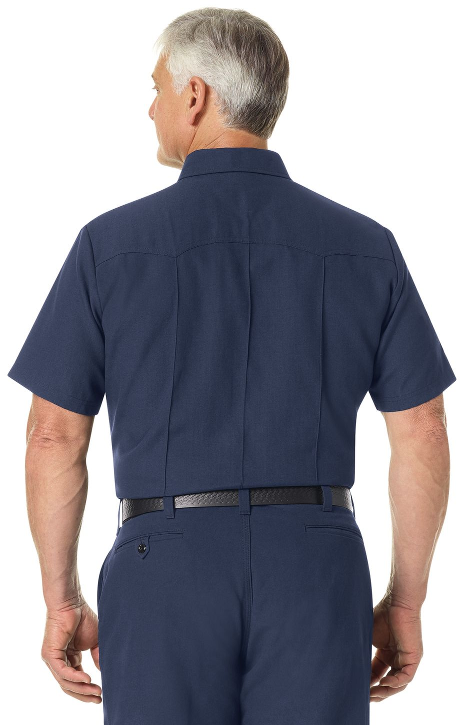 Workrite FR Firefighter Shirt FSF8, Classic Western Navy Example Back