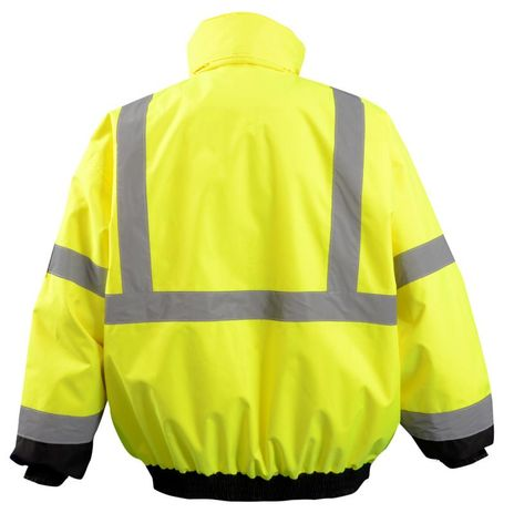 Occunomix LUX-350-JB Black Bottom 2-in-1 Quilted Bomber Jacket Back Yellow