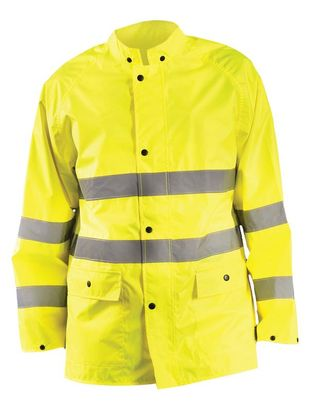 Occunomix LUX-TRJKT Breathable High Visibility Rain Jacket, Class 3 Front