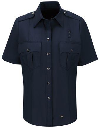 Workrite FR Women's Fire Officer Shirt FSE3, Classic Short Sleeve Navy Midnight Navy Front