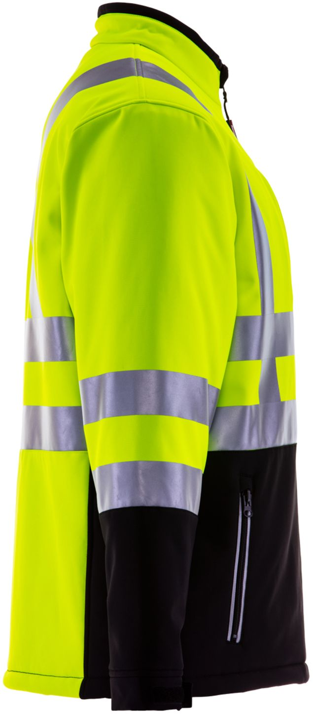 RefrigiWear 0496 Softshell HiVis Winter Work Jacket HiVis Lime Yellow With Reflective Tape Right