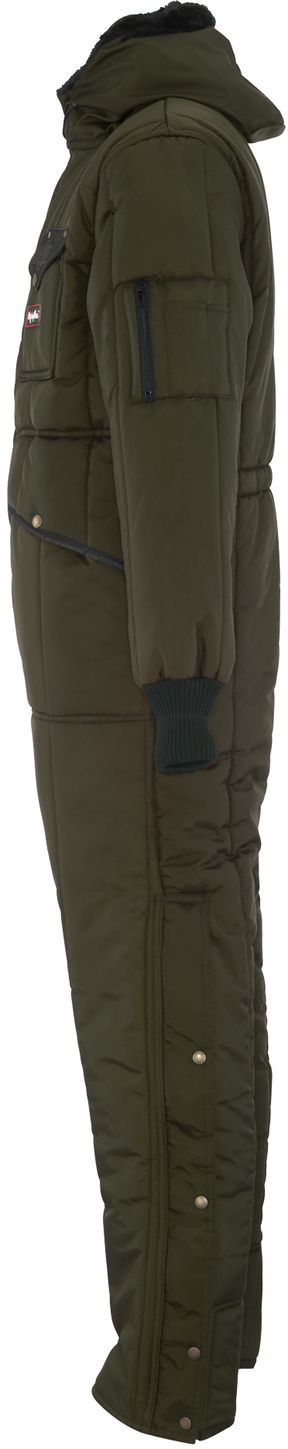 RefrigiWear 0381 Iron-Tuff Winter Work Coverall With Hood Sage Left