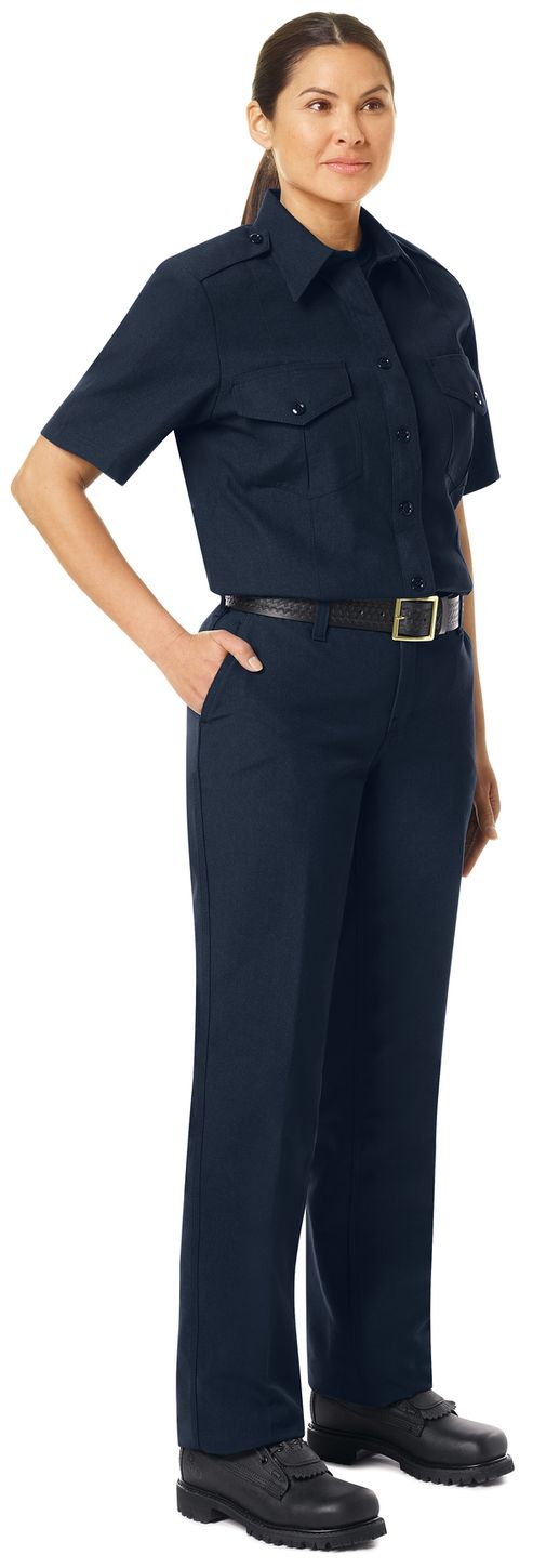 Workrite FR Women's Chief Shirt FSC7, Classic Short Sleeve Midnight Navy Example Right