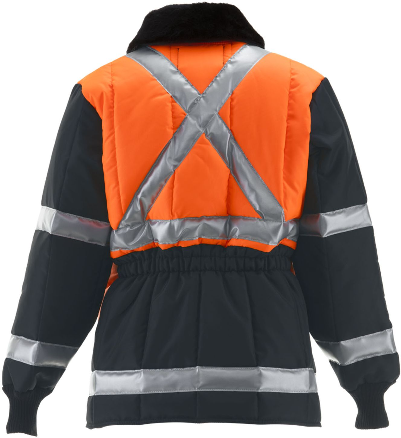 RefrigiWear 0342 - HiVis Iron-Tuff Two-Tone Jackoat Orange-Navy Back