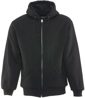 RefrigiWear 0488 Quilted Insulated Zipper Work Sweatshirt With Hood 3 Layer Black Front