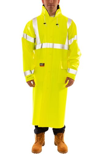Tingley C44122 Eclipse™ Arc Flash and Fire Resistant Rain Coat - PVC on Nomex®, Chemical Resistant, Class 3 Hi Vis Yellow-Green Front