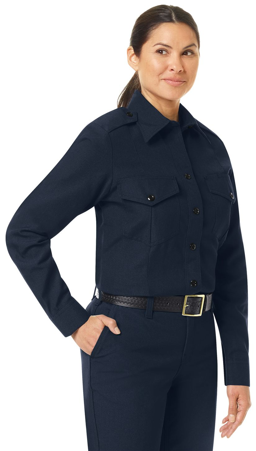 Workrite FR Women's Fire Chief Shirt FSC5, Classic Long Sleeve Midnight Navy Example Right