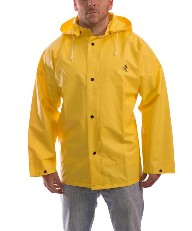 Tingley J56207 DuraScrim™ Fire Resistant Jacket - PVC Coated, Chemical Resistant, with Hood Snaps Front