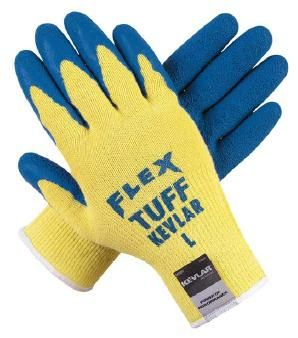Flex Tuff gloves from MCR Safety featuring textured latex coating on palm over a 10 ga Kevlar shell.