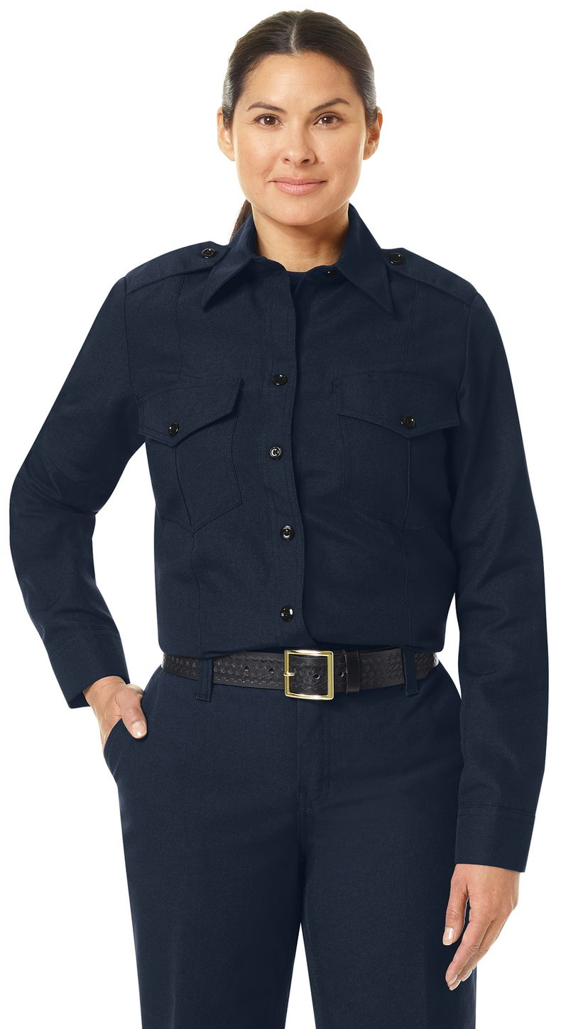 Workrite FR Women's Fire Chief Shirt FSC5, Classic Long Sleeve Midnight Navy Example Front