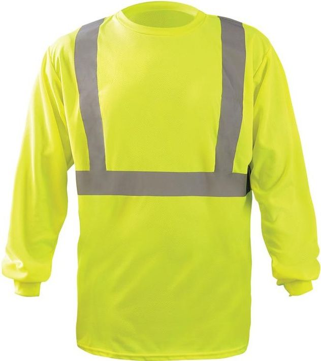 Occunomix LUX-LST2BX Long Sleeve Wicking Birdseye X-Back T-Shirt Yellow Front