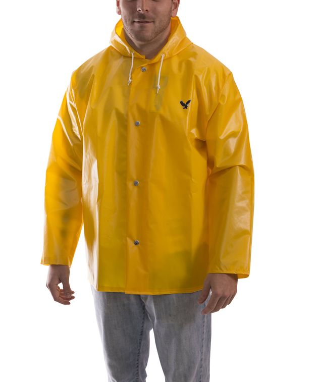 Tingley J22107 Iron Eagle® Chemical Resistant Jacket - Polyurethane Coated, with Attached Hood Gold Front