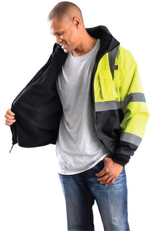 Occunomix LUX-ETJBJR-B Hi-viz 3-Way Black Bottom Bomber Jacket, Class 3