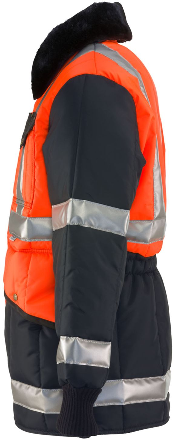 RefrigiWear 0342 - HiVis Iron-Tuff Two-Tone Jackoat Orange-Navy Left Side