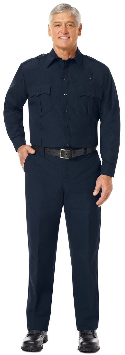 Workrite FR Fire Officer Shirt FSE0 Classic Long Sleeve Midnight Navy Example Front