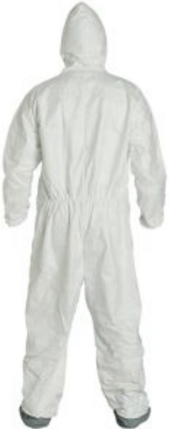 DuPont Tyvek Disposable Suit with Elastic Wrists - Hood & Anti-Skid Boots - TY122SWH Back