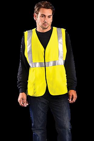Occunomix LUX-HRC2FR Hi-Viz Flame Resistant Single Stripe Half Sleeve Solid Vest