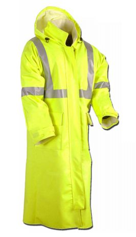 Cementex CHVRT3 Arc Rated Hi Viz Rain Trench Coat, ANSI 107 Class 3, Level 2