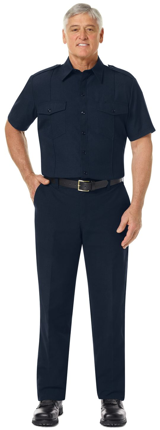 Workrite FR Shirt FSC6, Fire Chief, Classic Short Sleeve Midnight Navy Example Front