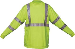 OK-1 Hi Vis Shirts TO3-04, TL3-04 - Class 3 Solid Polyester, Long Sleeve Fluorescent Lime