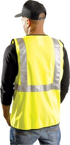 Occunomix Classic Solid Economy Hi Vis Safety Vest LUX-SSG Example Back