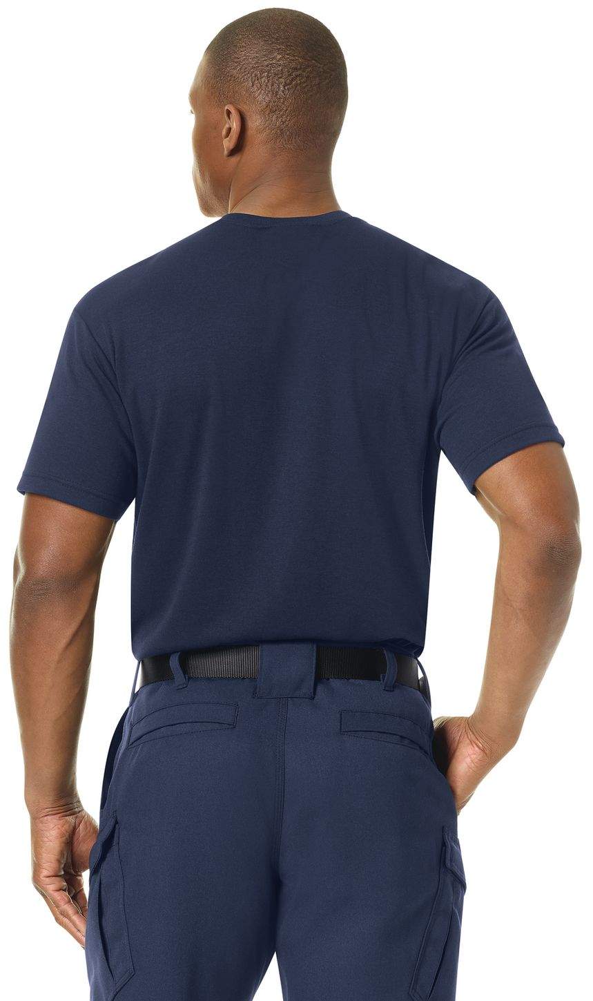Workrite FR FT34, Station Wear Base Layer Tee Navy Example Back