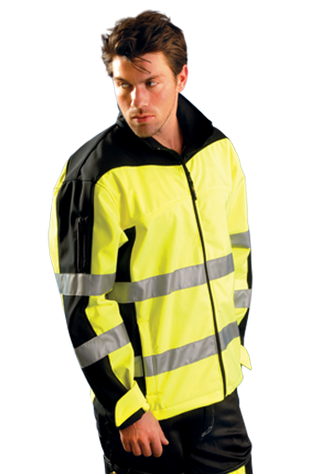 Occunomix SP-MSS Hi-Viz Soft Shell Motorcycle Jacket, ANSI Class 3