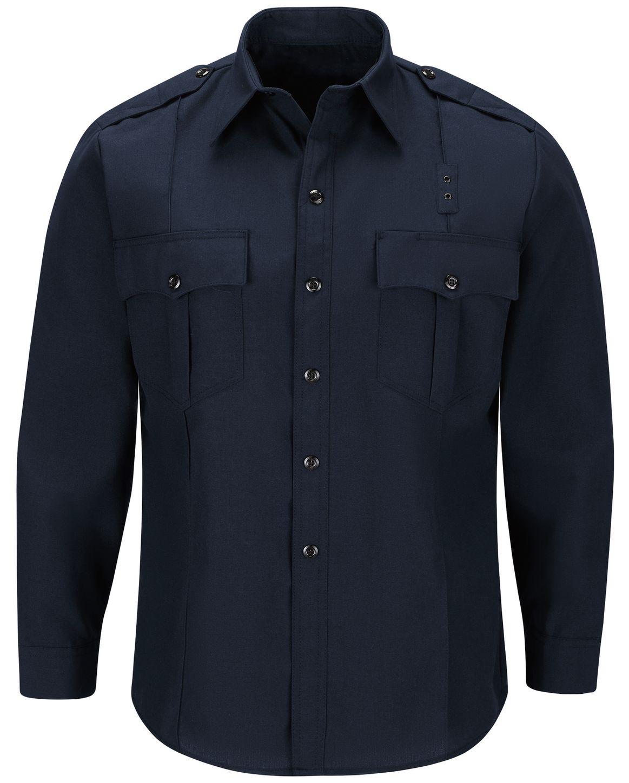 Workrite FR Fire Officer Shirt FSE0 Classic Long Sleeve Midnight Navy Front