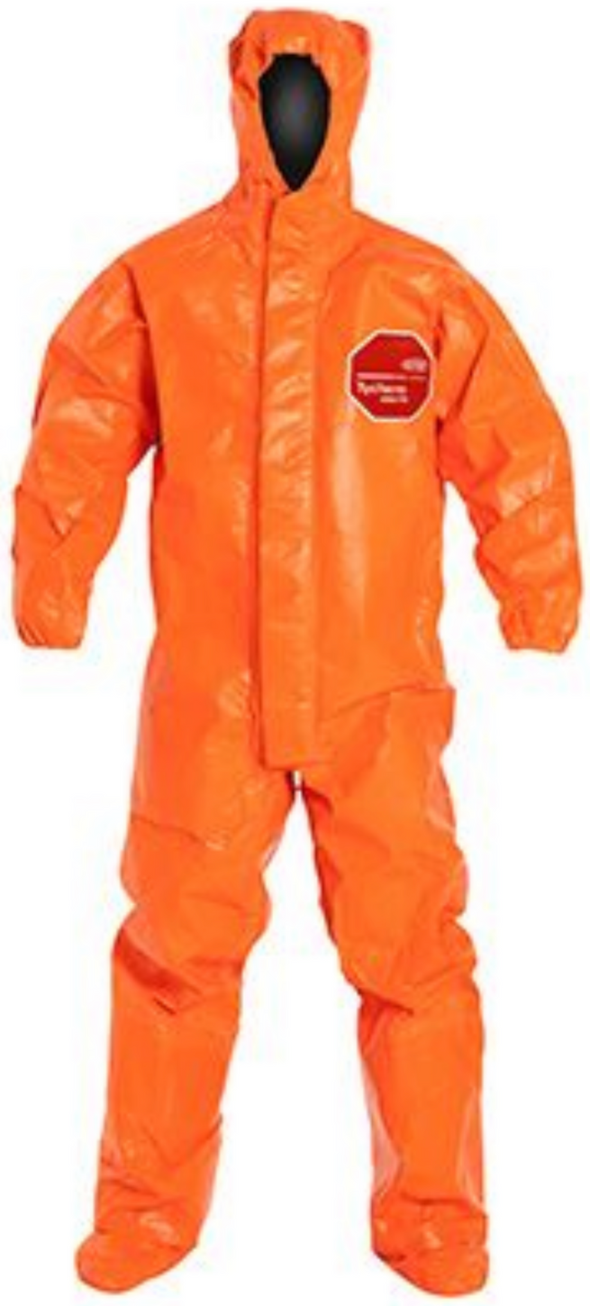 DuPont Tychem ThermoPro Suit with Hood - Elastic Wrists - Socks - Double Storm Flap - TP199T Front
