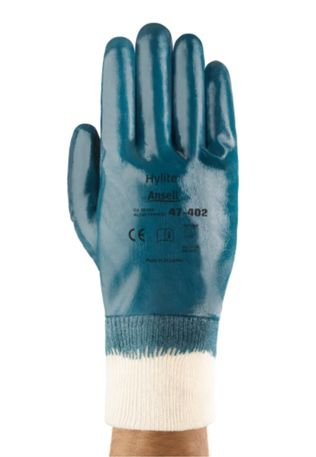 Ansell Hylite Fully Nitrile Dipped Gloves 47-402 with Knit Wrists Back