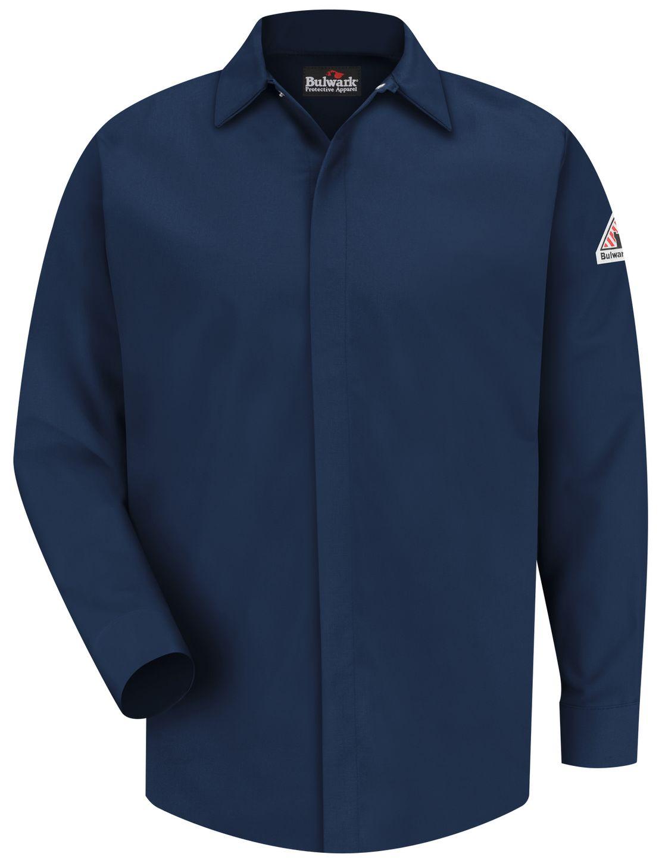 bulwark-fr-work-shirt-sls2-midweight-pocketless-concealed-gripper-navy-front.jpg