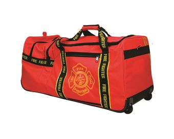 OK-1 Fire Fighter Gear Bag 6565001 - Red with Wheels and Shoulder Strap