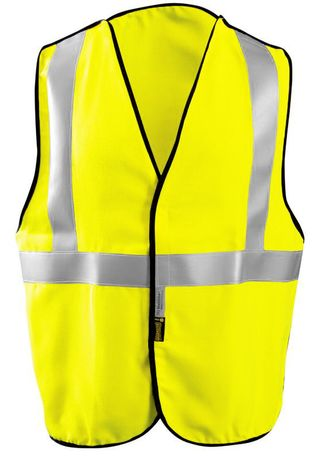 Occunomix LUX-SSBRPFR Hi-Viz Premium Flame Resistant 5-PT Break-Away Solid Vest Front