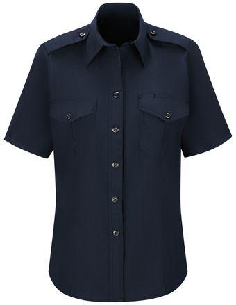 Workrite FR Women's Chief Shirt FSC7, Classic Short Sleeve Midnight Navy Front