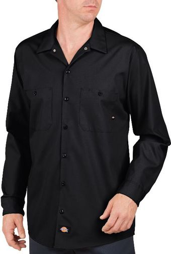 Dickies Men's Shirts - Long Sleeve Industrial Work Shirt LL535 - Black