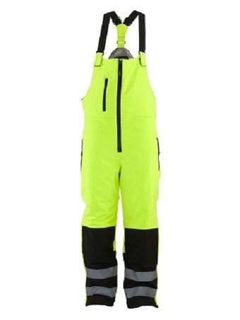 refrigiwear-0497-hivis-insulated-softshell-bib-overalls-blk-lime-front