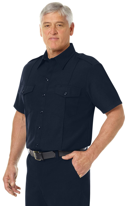 Workrite FR Shirt FSC6, Fire Chief, Classic Short Sleeve Midnight Navy Example Left
