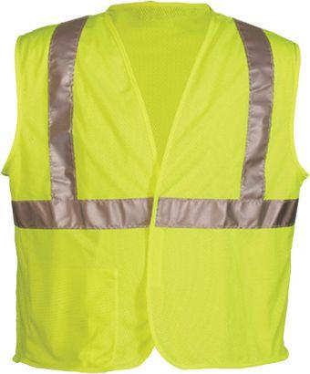 OK-1 Economy Safety Vests OK-A1L, OK-A1O - Class 2 Mesh Polyester Fluorescent Lime