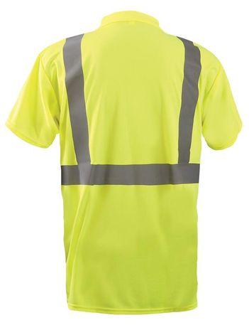 Occunomix LUX-SSPP2B Short Sleeve Wicking Birdseye Polo Shirt w/Pocket Back Yellow