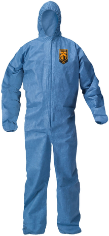 Kimberly Clark Kleenguard Coverall A20 Breathable - Blue Elastic Back Wrists Ankles and Hood Front