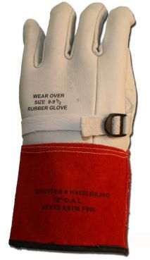 Cementex Class 2 High Voltage Leather Protector Gloves, 12-16""