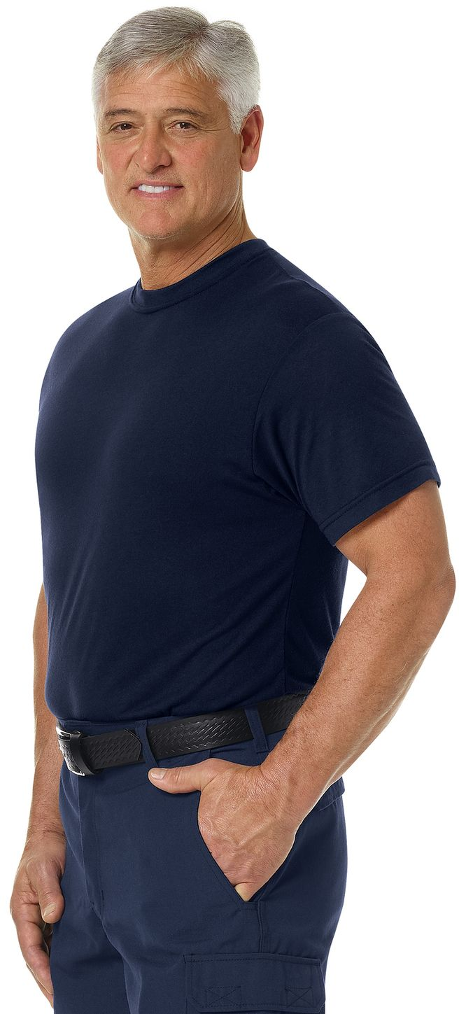 Workrite FR FT34, Station Wear Base Layer Tee Navy Example Left