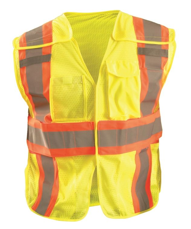 Occunomix LUX-SC2TB Hi-Viz Mesh Two-Tone Expandable Break Away Vest Front