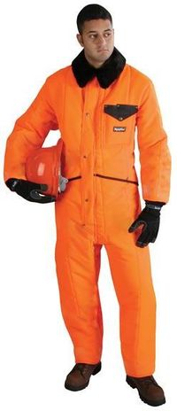 RefrigiWear Cold Weather Apparel - HiVis™ Iron-Tuff™ Coverall 0344HV - Lime