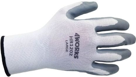 4Works HR1202 Gray Nitrile Coated Gloves - Back View
